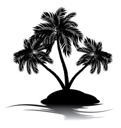 Palm Tree on Island Silhouette5 vector image vector image