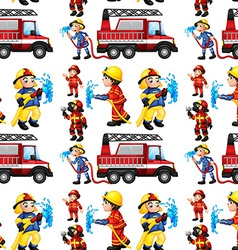 Seamless firefighters vector image