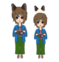 short hair girl with cat ears reading book vector image