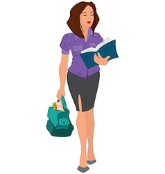 Cartoon young woman reading book and holding bag vector