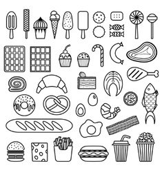 Icon of sweets fast food meat and fish vector