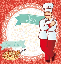 Menu Chef with pizza Red background with flowers vector image