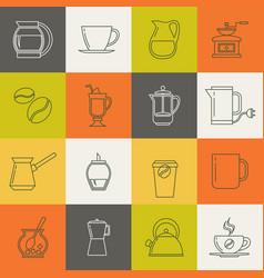 multicolor coffee thin line icons set vector image vector image