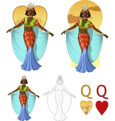 Queen of hearts afroamerican actress Mafia card vector image vector image