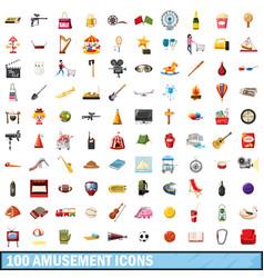 100 amusement icons set cartoon style vector image