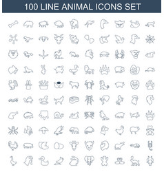100 animal icons vector image