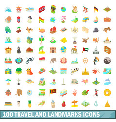 100 travel and landmarks icons set cartoon style vector