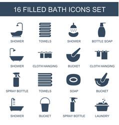 16 bath icons vector