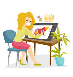 a white woman graphic designer works at the office vector image