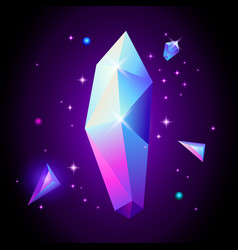 abstract trendy cosmic poster with crystal gems vector image