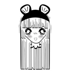 anime nice surprised woman with costume vector image