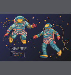 astronauts fly in outer space vector image