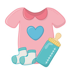 Baclothes with feeding bottle vector