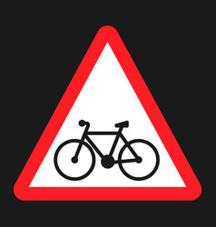 Bicycle and bike lane sign flat icon vector