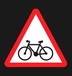bicycle and bike lane sign flat icon vector image