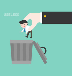 big business hand throwing small businessman to vector image
