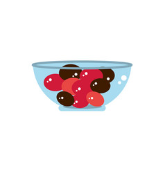Bowl with hard candies sweet confectionery snack vector