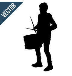 boy silhouette playing a drum vector image