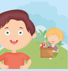 Boys with box full toys in grass vector