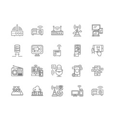 broadcast line icons signs set outline vector image