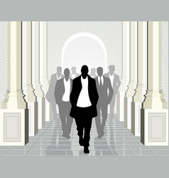 business team with leader ahead vector image