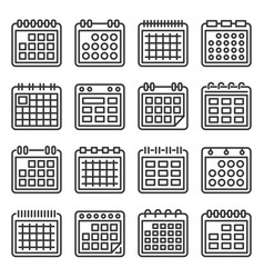 calendar icons set on white background line style vector image