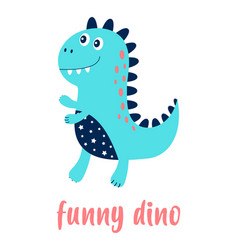 Card with funny dino isolated on white vector