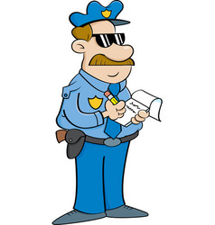 Cartoon policeman writing a ticket vector