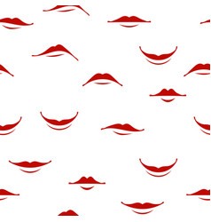 cartoon smile lips seamless pattern red female vector image