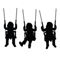 Child silhouette sweet on swing set vector