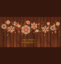 christmas card vintage paper snowflake on wood vector image