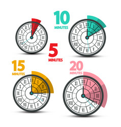 clock faces icons with five ten fifteen and vector image