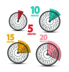 Clock faces icons with five ten fifteen vector