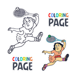 coloring page with woman tennis player cartoon vector image