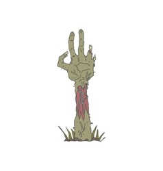 Creepy Zombie Haind Rising From The Ground vector image