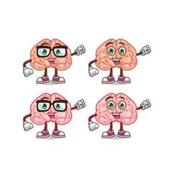 cute brain cartoon mascot vector image