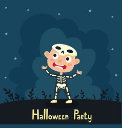 cute cartoon kid in colorful halloween vector image