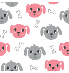 cute dogs seamless pattern vector image