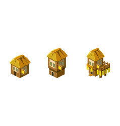 cute little houses set city town or village vector image