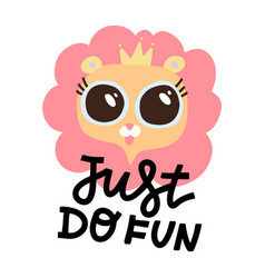 cute pink lion with big eyes and crown on white vector image