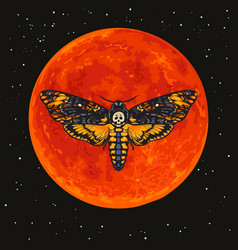deaths head hawkmoth on full red moon vector image