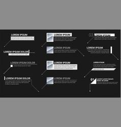 Digital information labels on black background vector