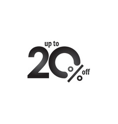 Discount label up to 20 off template design vector