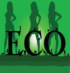 eco with three sexy green girl vector image