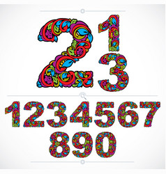 Ecology style flowery numbers numeration made vector
