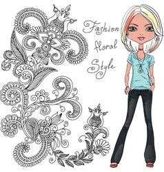 Fashion hipster girl vector