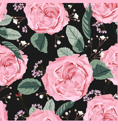 floral seamless pattern with garden roses vector image