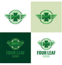 Four leaf clover icon and logo vector