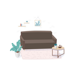 furnished living room flat vector image