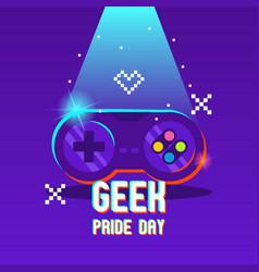 Geek pride day with joystick design vector